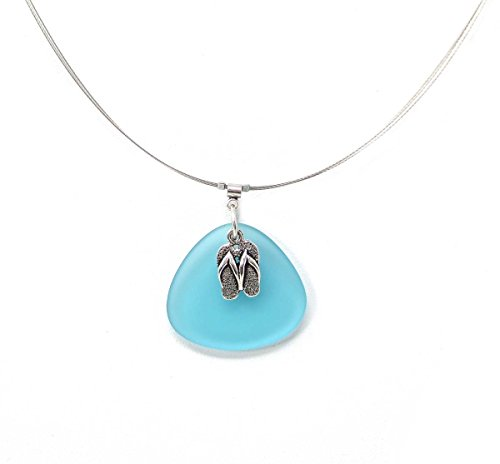 [Solares Silvertone Light Aqua Sea Glass Style and Flip Flops Charm Wire Necklace] (1800s Dresses Costumes)