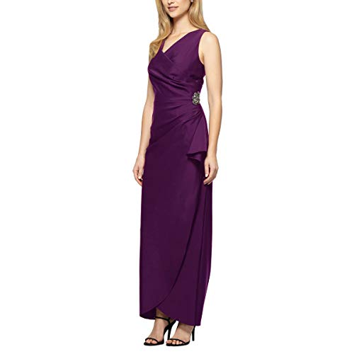 (Alex Evenings Women's Slimming Long Side Ruched Dress with Cascade Ruffle Skirt, Summer Plum, 4 )