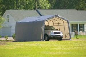 ShelterLogic 12Ft.W House Style Portable Garage/Carport - 28ft.L x 12ft.W x 10ft.H (Boat Garage Round Style)