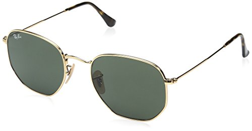 (Ray-Ban RB3548N Hexagonal Flat Lenses Sunglasses, Gold/Green, 54 mm)
