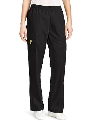 WonderWink Women's Scrubs Quebec Full Elastic Cargo Pant, Black, Large/Tall - Elastic Cargo Scrub Pants