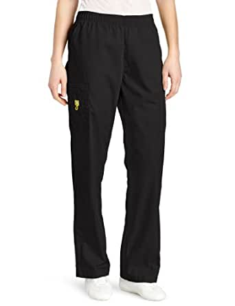 WonderWink Women's Scrubs Quebec Full Elastic Cargo Pant, Black, X-Small/Petite