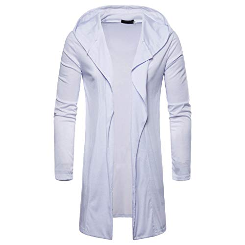 Moda Hooded Lunga Mens Bianco Cappotto Uomo Camicetta Manica Top Giacca Cloom Solido Giacche Outwear Elegante Parka Cardigan Jacket Trench EdBnq