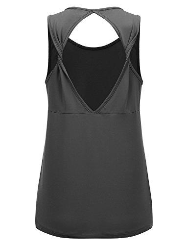 REGNA X NO BOTHER Women's Sleeveless Deep V neck White Open Back Tunic Tank Tops, Medium, - Top Open Back Tunic