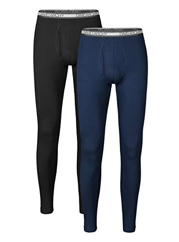 David Archy Men's 2 Pack Winter Warm Stretchy Cotton Fleece Lined Base Layer Pants Thermal Bottoms Long Johns with Fly (L, Black/Navy Blue)
