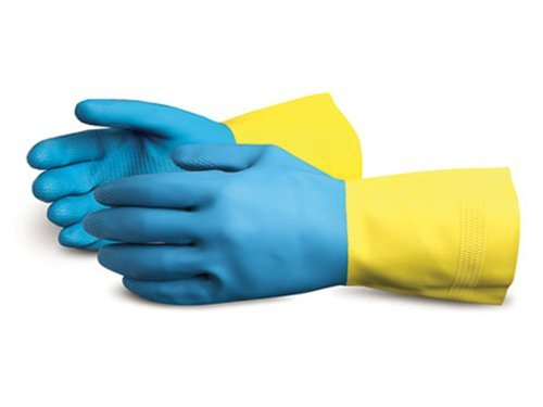 Superior NL3030 Chemstop Unsupported Neoprene Over Latex Glove, Work, Chemical Resistant, 30 mil Thickness, 12'' Length, Size 9, Blue/Yellow (Pack of 1 Dozen) by Superior Glove