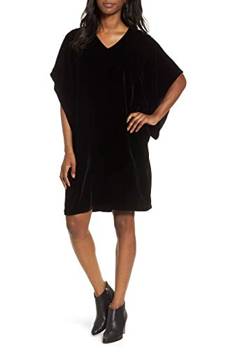 Eileen Fisher Black Velvet V-Neck Kimono Dress Size S/P MSRP $338