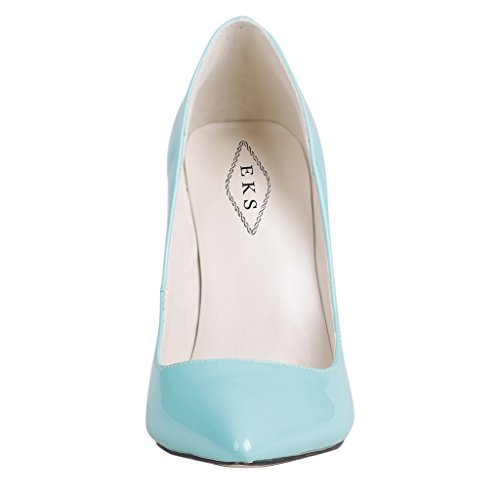 EKS - Merceditas de tacón alto Mujer Azul - Blau-A-Lackleder