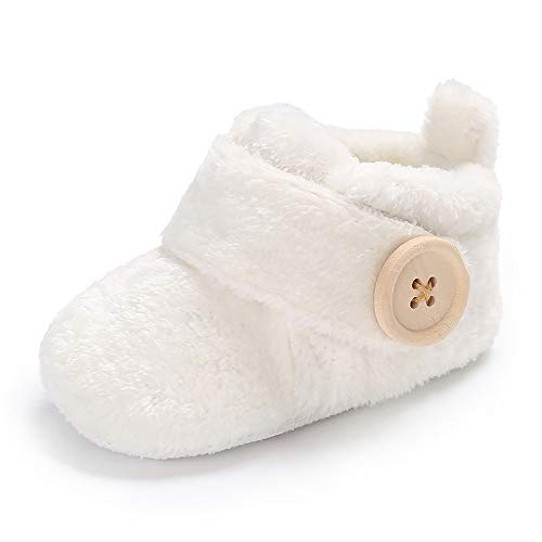 Wollanlily Newborn Baby Girls Boys Slippers Warm Fur Infant Toddler Boots Slip On Booties Shoes (White Medium Size 6-12 Months) by Wollanlily