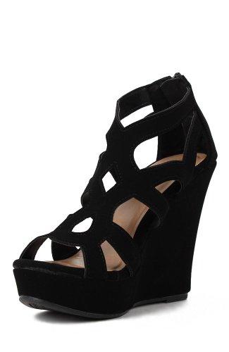 Top Moda Womens Ella-15 Fashion Wedge Sandals, Black, 7.5 ()