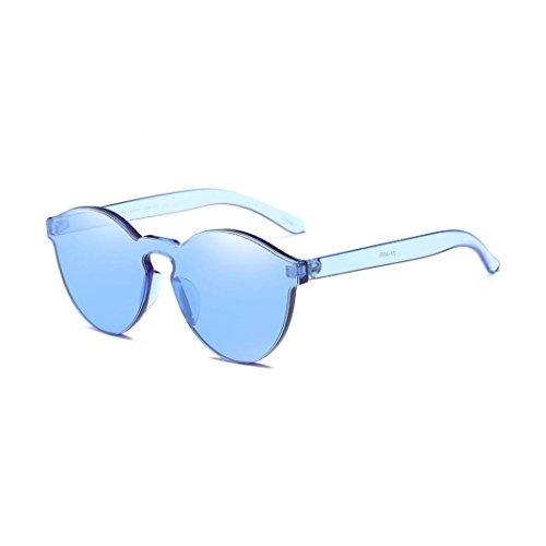Sin Wayfarer Reflexivo Montura Club de Espejo Azul Sin Keepwin Sol Gafas Polarizadas Marco Redondas TwawP78qx1