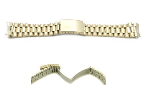 Hadley Roma Gold Tone 22mm Mens President Style Watch Bracelet