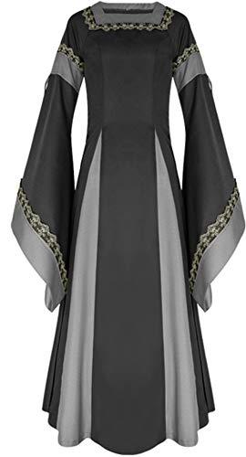 LETSQK Retro Renaissance Medieval Dresses Irish Victorian Halloween Costume Gown Black XL