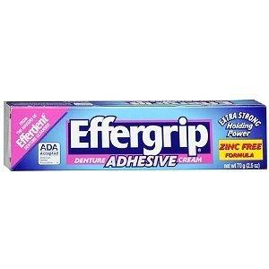 - Effergrip Extra Strong Denture Adhesive Cream, Zinc Free 2.5 oz (70 g) by AB