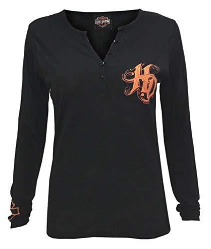 - Harley-Davidson Women's Twirl H-D Long Sleeve Poly-Blend Henley Tee -Black (3XL)