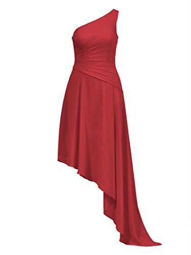 Party Alicepub Asymmetric Red Chiffon Formal Bridesmaid Dresses Dress Evening Women's xO0T0Zqpw