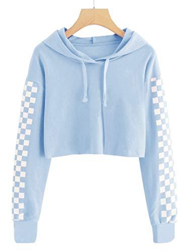 Imily Bela Kids Crop Tops Girls Hoodies Cute Plaid Long Sleeve Fashion Sweatshirts Light Blue -