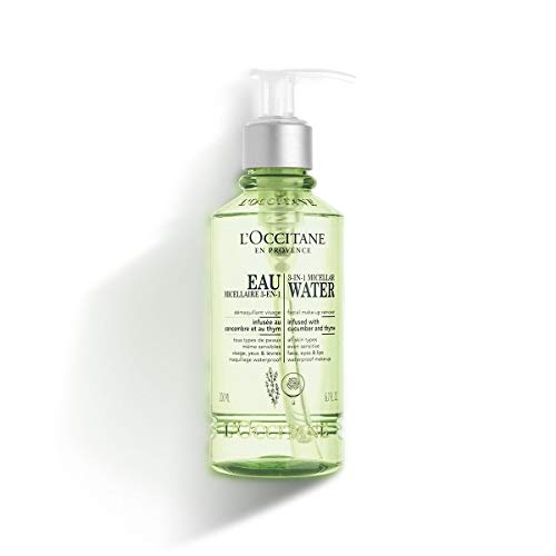 L'Occitane 3-in-1 Micellar Water Infused with Cucumber and Thyme to Remove Makeup & Refresh Skin, 6.7 fl. oz.