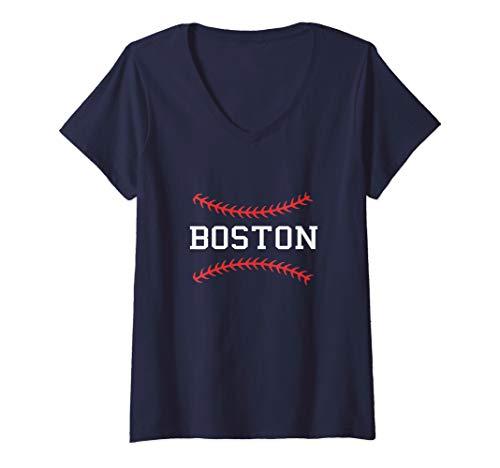 Womens Vintage Boston Massachusetts Retro Baseball V-Neck T-Shirt ()