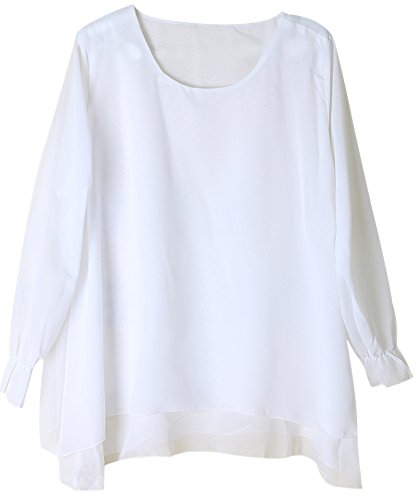 Vonfon Women Slim Crew Neck Long Chiffon Top Loose T Shirt