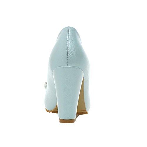 VogueZone009 Damen Rund Zehe Hoher Absatz Weiches Material Eingelegt Ziehen auf Pumps Schuhe Blau