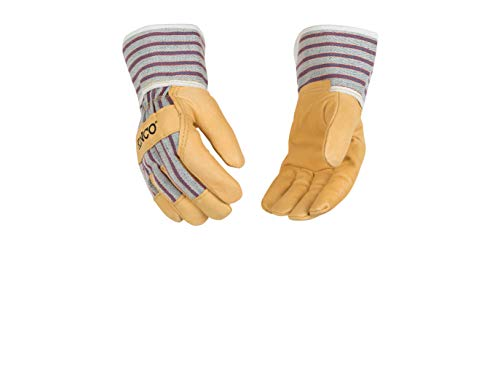 Kinco 1917 Youth (2-Pack) - Work Gloves for Kids - Perfect Easy-on/Easy-off glove for Kids - Soft Durable Pigskin Leather with Safety Cuff and Wing Thumb - Ages 7-12 (dimensions of glove listed below)
