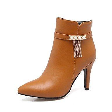 Heart&M Damen Schuhe PU Herbst Winter Komfort Stiefel Stöckelabsatz Spitze Zehe Reißverschluss Kette Für Schwarz Beige Braun Rot black