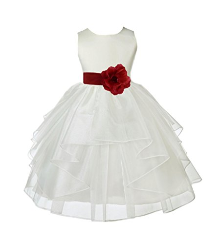 Wedding Pageant Ivory Shimmering Organza Flower Girl Dress 4613S 12 -
