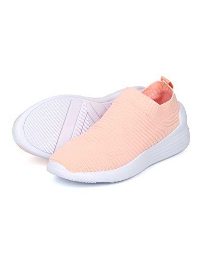 Alrisco Dames Geribbelde Slip Op Sok Jogger Sneaker - Hf87 By Wild Diva Collection Perzikkleurige Stof