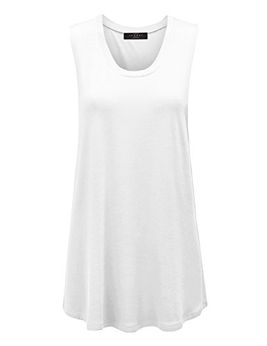Made By Johnny WT1100 Womens Basic Wide Armhole Loose Fit Drapey Muscle Tank Top S White