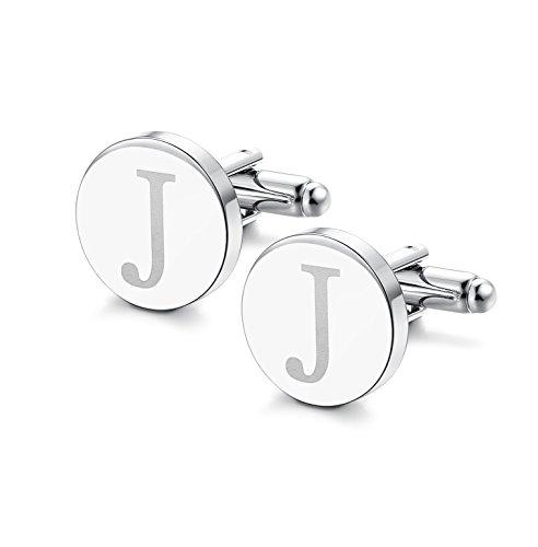 ORAZIO Mens Classic Engraved Initial Cufflinks Alphabet Letter Cufflinks Formal Kit Business Wedding Shirts J