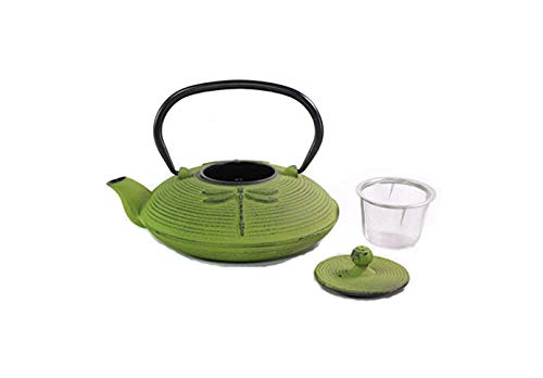 Iron Teapot ~ Japanese Antique 24 fl oz Green Dragonfly Cast Iron Teapot Tetsubin with Infuser Gift/Birthday gift/Kitchen/Teapot/idea for gift We pay your sales tax