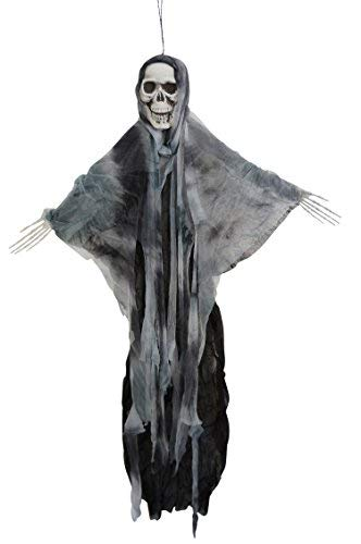 Halloween 35 Inch Hanging Fabric Poseable Skull Ghost Decoration by One Holiday Way (Gray)