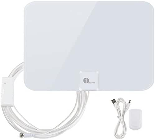 1byone 50 Miles Amplified HDTV Antenna with Creative Adjustable Amplifier Booster USB Power Supply To Boost Signal and 20 Feet Coaxial Cable, Shiny Antenna