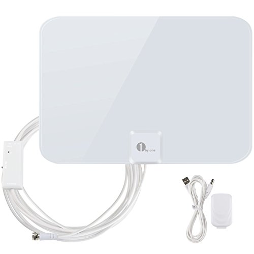 1byone 50 Miles Amplified HDTV Antenna with Amplifier Booster USB Power Supply To Boost Signal and 20foot Coaxial Cable, Shiny Antenna