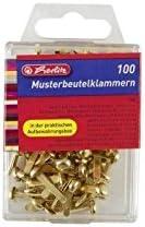 Herlitz 8770307 Rundkopf-Musterbeutelklammern, messingfarben, 15 mm 100 stuck