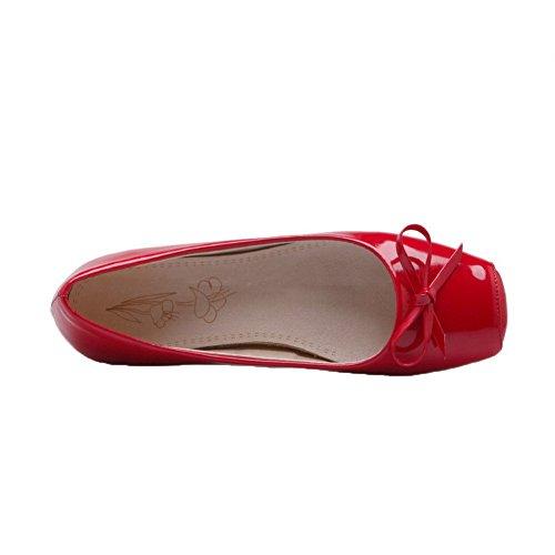 Amoonyfashion Kvinners Patent Lær Lav Hæl Lukket-toe Pull-on Pumper-sko Røde