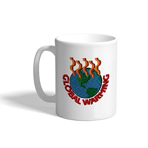 Ceramic Funny Coffee Mug Coffee Cup Global Warming White Tea Cup 11 Ounces (Global Warming Coffee Mug)