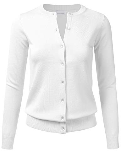 FLORIA Women's Gem Button Crew Neck Long Sleeve Soft Knit Cardigan Sweater White S