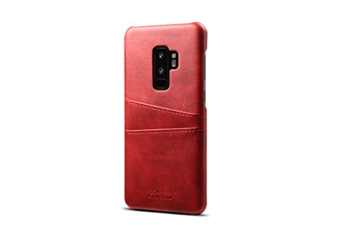 Incipio Leather - Galaxy S9 Plus Leather Case,TACOO Super Slim Fit Soft Pu Protective Two Credit Card Slots Ultra Thin Phone Back Cover for Samsung Galaxy S9+ S9P 2018-Red