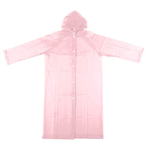 Reusable Long Raincoat, Aimik Portable EVA Raincoats, Reusable Rain Ponchos with Hoods and Sleeves Lightweight Raincoats for Outdoor Hiking Tourism (Pink)