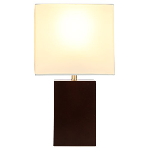 Brightech - Mode Contemporary Table Lamp - Genuine Wood Base - Relaxing Light for Nightstands, Guestrooms, Professional Offices, and more (Havana Brown) - Arm Brass Lamp Magazine Table