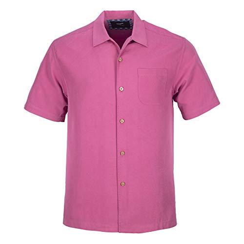 Blank&Black Men's Woven Short-Sleeved Shirt, Rose Red XL