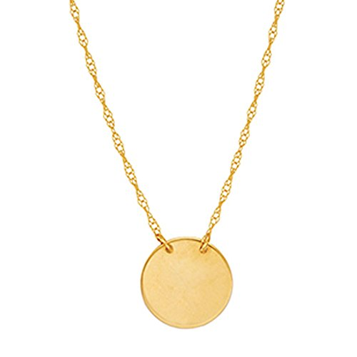 14k Yellow Gold Mini Disc Pendant Adjustable Chain Necklace 16-18 Inches (Disc Engravable)
