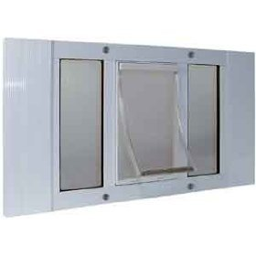 33 to 38 Wide Window Sash Pet Door Size Lrg 9 x 15 Flap by Ideal Corp.