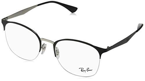 (Ray-Ban RX6422 Square Metal Eyeglass Frames, Matte Black on Silver/Demo Lens, 51 mm)