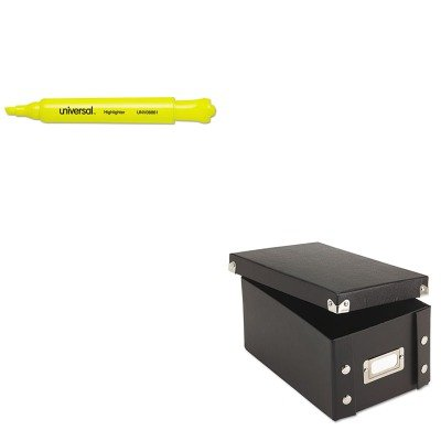 KITIDESNS01577UNV08861 - Value Kit - Snap-n-store Snap 'N Store Collapsible Index Card File Box Holds 1 (IDESNS01577) and Universal Desk Highlighter (UNV08861)