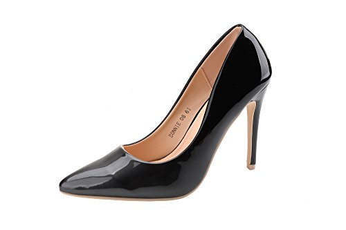 Mila Lady (BONNIE08 Women Fashion Embellished Sparkles Contrast Color Pointed Toe Pumps High Heel Stilettos Sexy Slip On Dress Shoes, Pewter/BK8.5 -