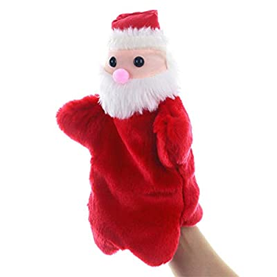 NUOBESTY Christmas Hand Puppets Santa Claus Finger Toys Plush Stuffed Doll Xmas Holiday Party Favor Supplies Gifts for Toddler Kids 3PCS: Home & Kitchen