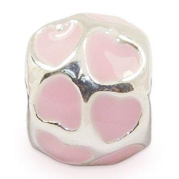 Andante-stones perle européenne en argent 925 avec cœurs roses pour bracelet à perles européennes livrée dans une pochette en organza